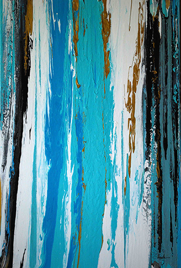 "Abstract Art Painting ""Go with the Flow"" by S. Kukreja"