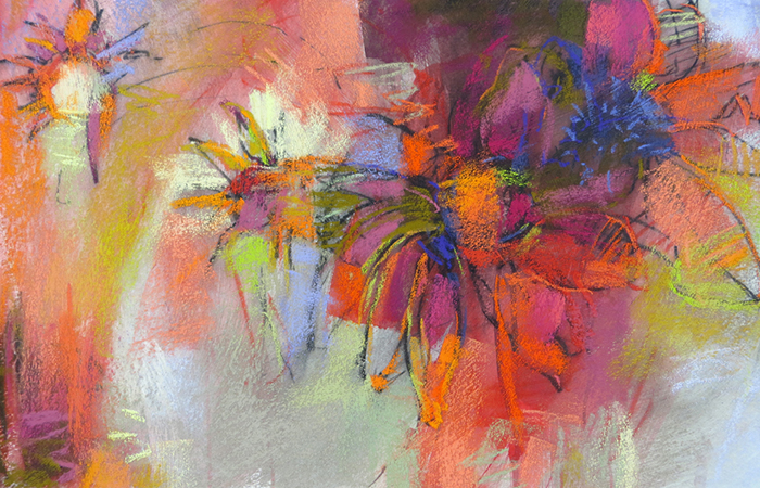 Abstract Art in Pastel Coneflower Garden by Debora Stewart