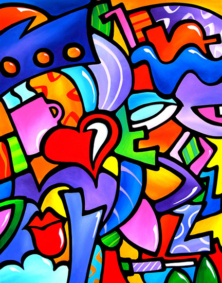 """Abstract Art Painting """"Just Some Stuff"""" by T. Fedro"""