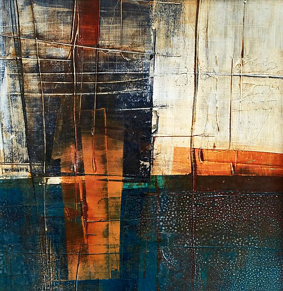 Abstract Art Painting on Cardboard by Sadettin Karacagil