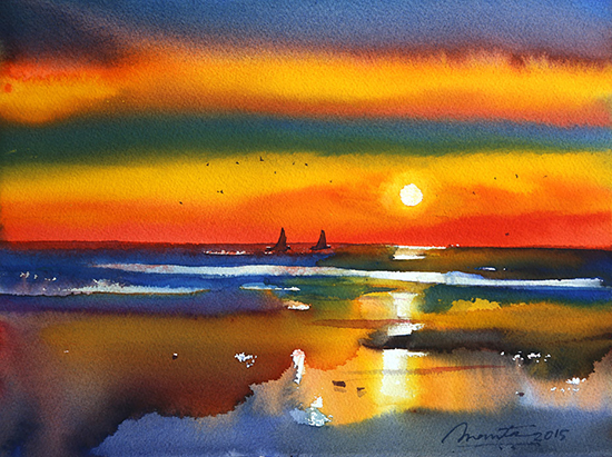 Abstract Painting - Watercolor on Paper by Ananta Mandal