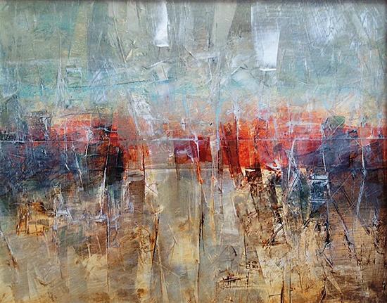 Abstract Art on Vinyl Canvas Untitled by Sadettin Karacagil